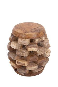 Stacked Teak Wood Stool