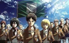 Download wallpapers Shingeki No Kyojin, Armin Arlert, Eren Yeager, Mikasa Ackerman, Japanese anime, manga, all characters