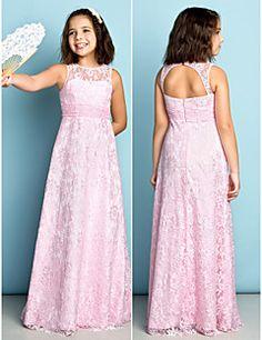 Floor-length Lace Junior Bridesmaid Dress - Blushing Pink $71.99
