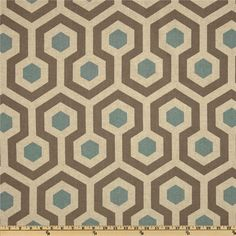 Linen Brown & Blue Geometric Decorator Fabric By The Yard