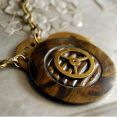 Steampunk Vintage Button Necklace Brass Gears by CalloohCallay, $38.00