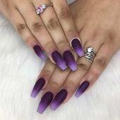 45 Cool Matte Nail Designs to Copy in 2019 Matte Purple Ombre Coffin Nails Matte Nails, Stiletto Nails, Coffin Nails, Acrylic Nails, Gel Nails, Black Nails, Purple Nail Designs, Short Nail Designs, Acrylic Nail Designs