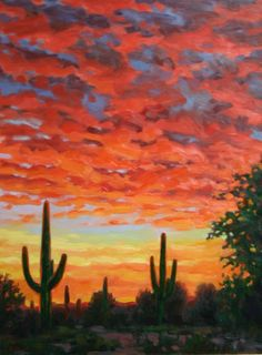 """Impressionistic sunset painting """"Fire in the Sky"""". $815.00, via Etsy."""