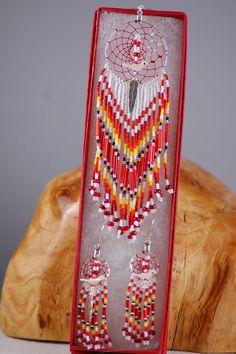 Darlene Henio Dream Catcher Pendant and Earrings | Native American Dream Catcher | Authentic Native American Bead Work