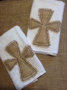 Burlap Appliqued Cross Kitchen Dish Towels Set by BayBaysBoutique