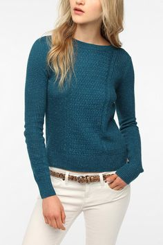 Pins and Needles Mixed Stitch Long-Sleeved Sweater  #UrbanOutfitters