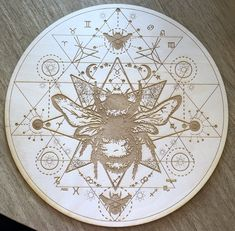 The Sri Yantra is a form of mystical diagram, known as a yantra, found in the Shri Vidya school of Hindu tantra. This is a Honey Bee Sri Yantra crystal grid made out of Birch wood. Sri Yantra, Bee Tattoo, Mandala Tattoo, Altar Decorations, Bees Knees, Sacred Art, Sacred Symbols, Crystal Grid, Sacred Geometry