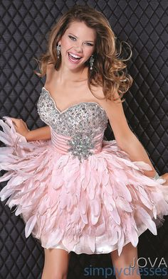 Short Strapless Pink Feather Dress JO-5924