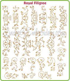 Royal Filigree - decorative single color satin & chain stitch machine embroidery designs collection, great for borders
