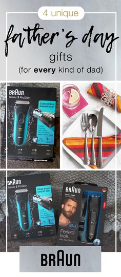 Honor the dads in your life with a grooming gift idea worthy of them. These 4 Unique Father's Day Gifts are the perfect practical yet thoughtful present for every type of dad. So why not give them a gift they'll really appreciate—like a wonderfully smooth shave. Thanks to the anti-slip grip, cordless technology, and top-rated reviews of the Braun Multi Grooming Kit and the Braun Series 3 ProSkin Rechargeable Cordless Wet and Dry Electric Shaver/Razor, it's easier than ever.