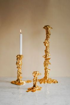 Gold Candle Holders, Gold Candles, Diy Candles, Candle Holder Decor, Modern Interior Design, Interior And Exterior, Room Inspiration, Interior Inspiration, Bedroom Candles