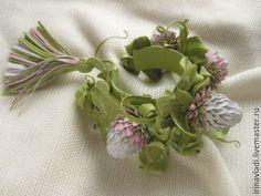 Купить Цветы из кожи. Украшение женский кожаный браслет НЕЖНЫЙ КЛЕВЕР - браслет из кожи
