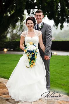 #WinnieBride Natalie and her husband looking overjoyed on their wedding day.
