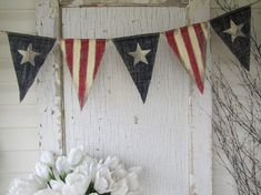 Size LG. Primitive Olde American Flag, Patriotic, July 4th, Old Glory, USA, Painted Burlap Banner, Flag, Bunting, Pennant on Etsy, $32.00