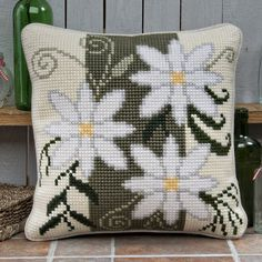 'Floral Stripe' Cross Stitch Cushion Kit by Twilleys of Stamford. Cross Stitch Cushion, Cross Stitch Rose, Cross Stitch Patterns, Crochet Patterns, Swedish Weaving, Needlepoint Pillows, Stamford, Floral Stripe, Patch