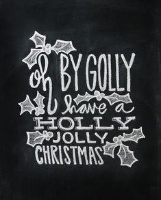 Christmas Hand Lettered Chalkboard Art Art Print by Jessica Garvin | Society6