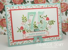 CTC61 - Caseing the Catty Design Team member, Number of Years, Large Numbers framelits, Remembering Your Birthday, Birthday Bouquet DSP - Rebecca Scurr - Stampin' Up! demonstrator - www.facebook.com/thepaperandstampaddict