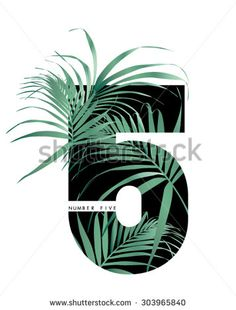 Numbers with tropical leaf in vector - stock vector