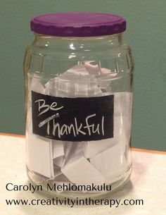 Art therapy activities mandala Creativity in Therapy: Gratitude Jar -- An Activity to Focus on Thankfulness Had a wonderful time making these last Thanksgiving. Highly recommend it! Art Therapy Projects, Therapy Tools, Play Therapy, Therapy Ideas, Therapy Games, Speech Therapy, Counseling Activities, Art Therapy Activities, Work Activities