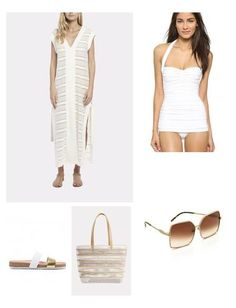 The Long V Pullover Dress from Solid & Striped is an elegant answer to what to wear over your bathing suit on your next getaway. This piece features a deep V-neckline and dual slits at the side seams. Wear it with metallic sandals for glamorous look.