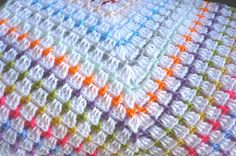 Baby Blanket in a Granny Square Design White with Multi by Aalexi