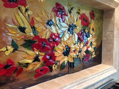 Fused Glass Floral Backsplash | Designer Glass Mosaics