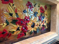 Fused Glass Floral Backsplash | Designer Glass Mosaics