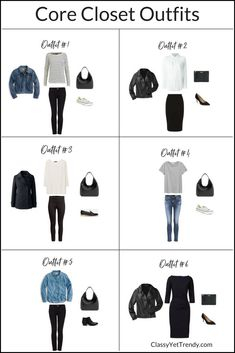 How To Create Outfits With A Core Closet - see 6 outfit ideas that come from this wardrobe, using clothes and shoes such as a tee, striped top, leather jacket, white shirt, denim jacket, black jeans, ankle pants and pencil skirt....