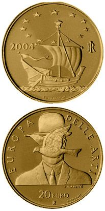 N♡T.20 euro: Europe of the Arts - René Magritte - Belgium.Country:Italy  Mintage year:2004 Face value:20 euro Diameter:21.00 mm Weight:6.45 g Alloy:Gold Quality:Proof Mintage:6,000 pc proof