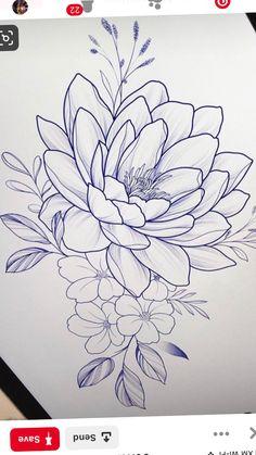 One big flower. Rose Flower Sketch, Flower Art Drawing, Flower Sketches, Art Drawings For Kids, Art Drawings Sketches, Tattoo Sketches, Tattoo Drawings, Family Tattoo Designs, Flower Tattoo Designs