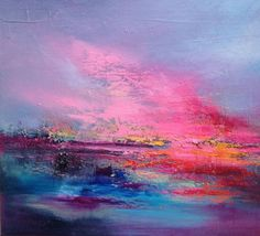 Love is in the Air - 40 x 40 cm, abstract landscape oil painting, turquoise…