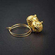 vermeil gold gold plated filigree onion drop earring handmade