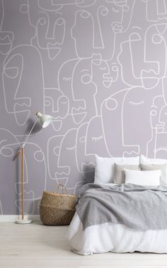 Ready to give your room the ultimate modern update? Our Features mural in Lilac has everything you need in one. With an abstract style, line drawing face design, and trending lilac tone, this wallpaper will keep your space looking up-to-date and effortlessly chic. The face pattern is hand-drawn in one continuous white line, created without lifting the pen from the page, which gives the design a true abstract art feel. World Map Wallpaper, Forest Wallpaper, Kids Wallpaper, Wallpaper Design For Bedroom, Designer Wallpaper, Abstract Styles, Abstract Art, Face Line Drawing, Childrens Shop