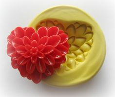 Heart Flower Mold Resin Clay Mum Mould Cabochon by WhysperFairy