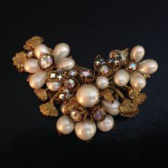 Vintage Signed Demario NY Pearl AB Rhinestones Flower Floral Brooch Gold Tone | eBay