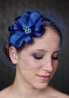 Royal Blue Fascinator Royal Blue Hat w/Ribbon waves by klaxonek, $119.00