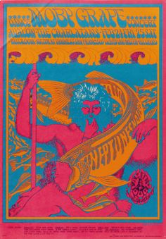 Moby Grape/Charlatans, February, 24 & 25, 1967 - Avalon Ballroom (San Francisco, CA.) Art By Victor Moscoso.