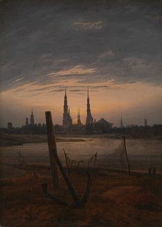 """""""일상에서 신비로운 양태를"""" Caspar David Friedrich, """"City at Moonrise"""", 1817 /프리드리히의 풍경화는 주로 두가지 부분으로 구성된다. 이런 구성을 통해 프리드리히는 작품에서 자신의 인생관을 드러낸다. 가깝고 명확한 전경은 현실을, 희미하고 멀리 보이는 원경은 미래와 희망을 나타낸다. 이 그림에서 가장 눈에 띄는 닻은 현실의 한계성을 나타내고 원경에 나타난 신을 나타내는 달과 성당의 모습은 프리드리히 본인의 신앙심을 잘 표현하고 있다."""