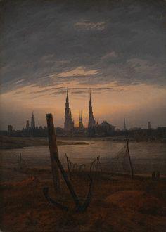 """""""일상에서 신비로운 양태를"""" /Caspar David Friedrich, """"City at Moonrise"""", 1817 /프리드리히의 풍경화는 주로 두가지 부분으로 구성된다. 이런 구성을 통해 프리드리히는 작품에서 자신의 인생관을 드러낸다. 가깝고 명확한 전경은 현실을, 희미하고 멀리 보이는 원경은 미래와 희망을 나타낸다. 이 그림에서 가장 눈에 띄는 닻은 현실의 한계성을 나타내고 원경에 나타난 신을 나타내는 달과 성당의 모습은 프리드리히 본인의 신앙심을 잘 표현하고 있다."""