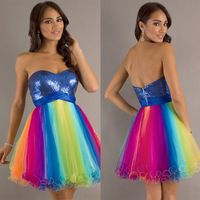 Hot Sale !Sequin Sweetheart Rainbow Tulle Open Back Short Prom Dress Girl Homecoming Graduation Cocktail Dress Party Gowns-79.99$