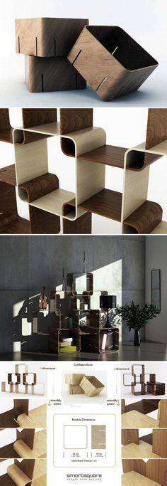 This set of storage shelves is called smartsquare, designed by Pietro Russomanno,which allows people to joint shelves together the way they want
