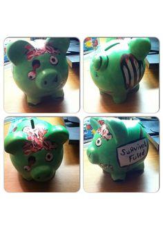 A zombie piggy bank I made last night!