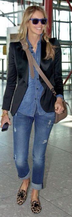 Elle Macpherson Street Style Denim shirt and Blazer Leopard Ballerina flats #Hermes perfect
