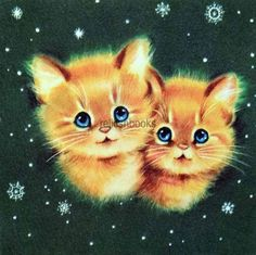 #1741 50s Norcross Kitty Cats-Vintage Christmas Card-Greeting