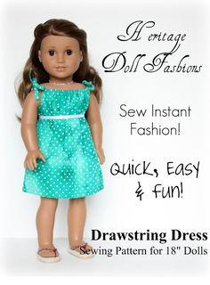 Grosgrain: Free Pattern Month Day 27 - Liberty Jane Patterns: American Girl Doll Drawstring Dress