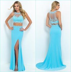 2016 Two Piece Prom Dresses, Long Prom Dresses,