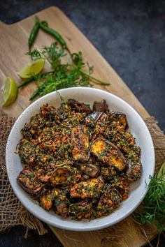 Baingan Methi is a delicious everyday Indian sabji made using eggplant and fenugreek leaves. It's easy to make and tastes delicious. Here is how to make it. Indian Eggplant Recipes, Indian Vegetable Recipes, Veg Recipes, Indian Food Recipes, Vegetarian Recipes, Cooking Recipes, Curry Recipes, Cooking Tips, Recipes