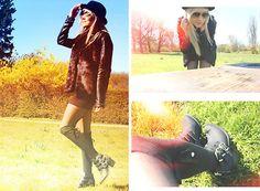 Joicy  Muniz - Forever 21 Hat, Manola Jacket, Topshop Vest, Chilli Beans Sunglasses, Produção Skirt, H&M Boots - All Black!