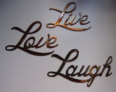 Live Love Laugh Small Version Words Metal Wall Art Accents in Home u0026  Garden, Home Décor, Wall Sculptures