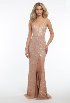 Sequin V Neck Dress with Side Slit Dress Nude Long Dresses, Nude Dress, Grad Dresses, Dance Dresses, Ball Dresses, Evening Dresses, Formal Dresses, Prom Gowns, Homecoming Dresses